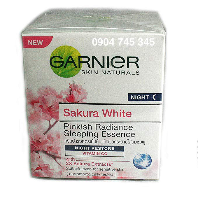 Kem Dưỡng Garnier Đêm Sakura White Pinkish Radiance Sleeping Essence Night Restore Cream 50ml