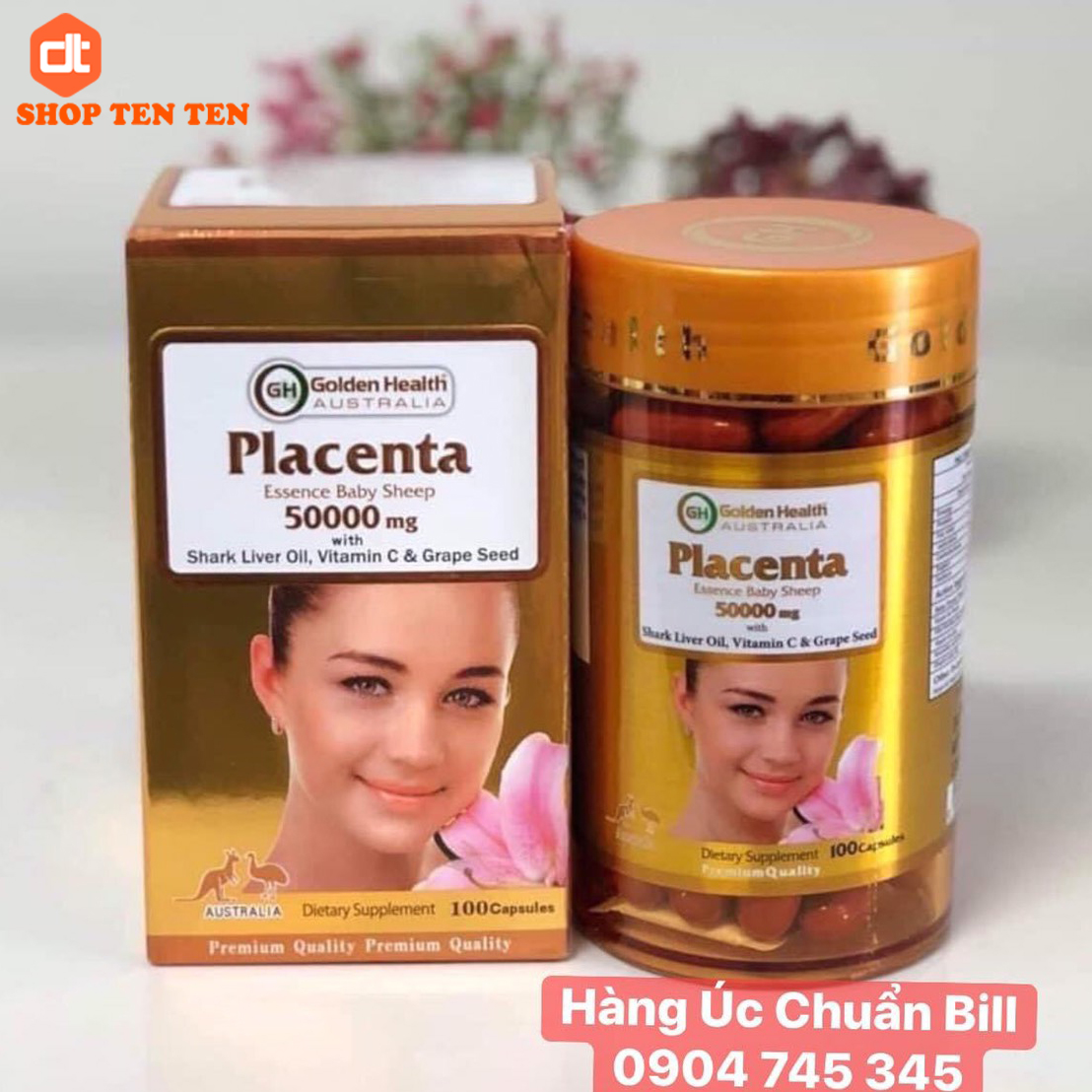Nhau Thai Cừu Golden Health Placenta 50000mg Úc